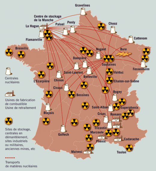carte france nucleaire
